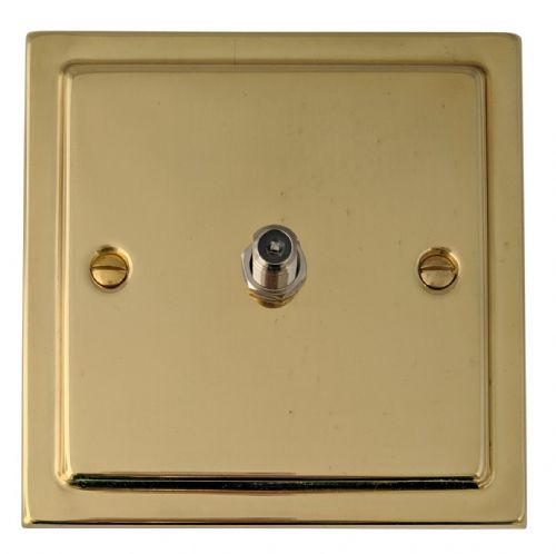 G&H TB37 Trimline Plate Polished Brass 1 Gang Single Satellite Point Socket